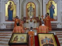 Архиепископ Серафим в Неделю о слепом совершил Литургию в Кафедральном соборе Христа Спасителя